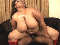 Appetizing titty ebony fatty takes a ride black fat xxx