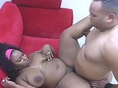 This ebony fatty knows how to handle cock
