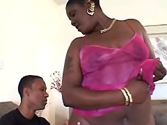 Chubby ebony slut with big tits gets cum in mouth